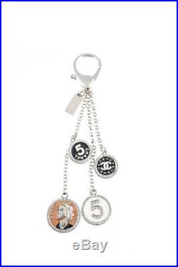 Chanel Women's Keychain Silver Tone Black White Pink Enamel Charm