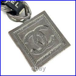 Chanel sports line logo Chain key ring key holder key holder /Silver/black