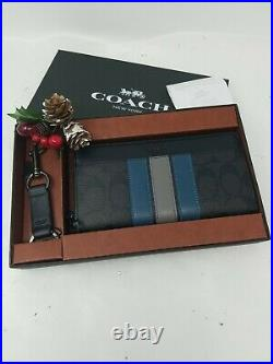 Coach Accordion Wallet & Key Chain Set Black Multi 37943 /66861 NWT