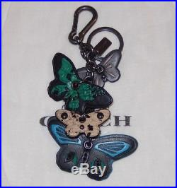 Coach Black Colorful Multi Clustered Butterfly Key Ring Fob Bag Charm New