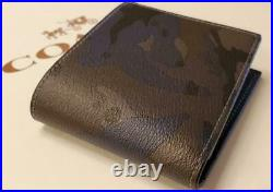 Coach Blue Camo Signature Bi-fold Wallet With Key Chain Fob In A Gift Box-88912