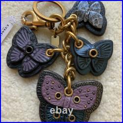 Coach Butterfly Diecut Leather Snakeskin Cluster Keychain Bag Charm 76581 NIB
