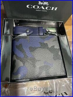 Coach Camo ID Wallet Key chain Gift Set F88912 $198 Black Gray Blue