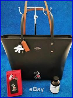 Coach Disney Mickey Mouse Leather City Tote Purse + Key Chain Fob 1st Edition