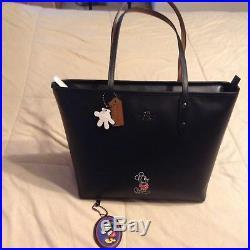 Coach Disney X Mickey Mouse City Tote black NWT Purse Hand Keychain Bag