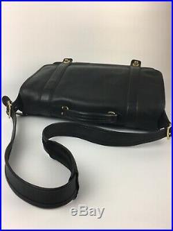 Coach Essex Briefcase 5274 Black Leather Laptop Messenger Shoulder Bag Keychain