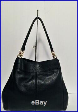 Coach F28997 Lexy Large Black Leather Shoulder Bag Disney Minnie Mouse Keychain