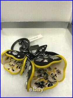 Coach Floral Tea Rose Leather Key FOB Chain Charm Style 59731 NWT