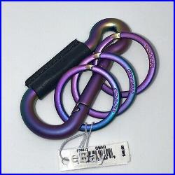 Coach Iridescent Oil Slick Carabiner Keychain Fob Bag Charm Black Leather F38613