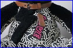 Coach Keith Haring Black and Chalk Leather Teddy Bear Style 20819