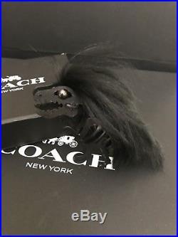 Coach Long Mohawk Rexy Dinosaur Bag Charm Keychain FOB in Black $175 NWT & box