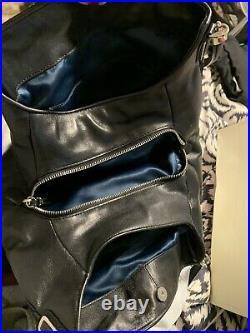 Coach Madison Ocelot Black Leopard Silver Keychain Purse Handbag Bag Leather