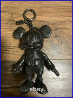 Coach Mickey Mouse Keychain Key Fob Purse Doll Black Pebble Leather BRAND NEW