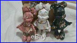 Coach Minnie Mouse DollSET of 3 leather Key chain NWT WHITE, PINK BLACK