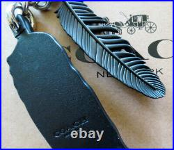 Coach NWOT Western Rivets Leather Feather Key Ring Chain Fob Charm #58492