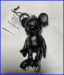 Coach X Disney 59152 Mickey Plush Doll Bag Charm Leather Black New With Tags
