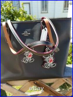 Coach X Disney Mickey Mouse City Zip Tote Black Leather With Keychain Disney