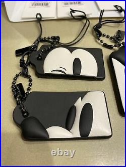 Coach X Disney Mickey Mouse Leather Hangtag Purse Charm Fobs Set Of 4. NWT