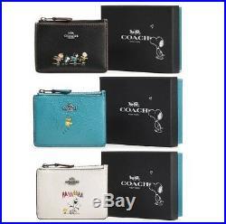 Coach X Peanuts Snoopy Mini Skinny ID Case Wallet Pebble Leather key chain Fob