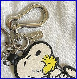 Coach X Peanuts Snoopy & Woodstock Leather Bag Fob Keyring Charm F65165