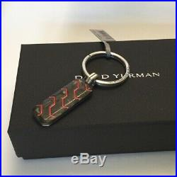 DAVID YURMAN Sterling Silver & Forged Carbon Red Resin Keychain NWT $350