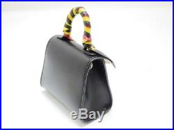 DELVAUX Brilliant Charm Bags Key calf black xx Yellow 430 large N1623