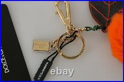 DOLCE & GABBANA Keychain Black Leather Orange Fur Gold Clasp Keyring RRP $400