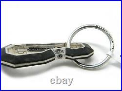 David Yurman Forged Carbon Carabineer Key Chain Sterling Silver NWT