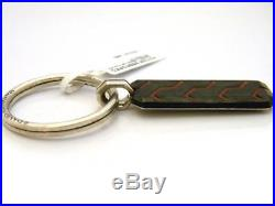 David Yurman Forged Carbon Key Chain Red Resin/Sterling Silver NWT