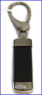 David Yurman Royal Cord Black Leather/Sterling Silver Key Chain NWT