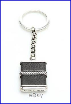 David Yurman Sterling Silver & Black Leather Cable Link Keychain