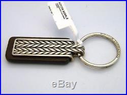 David Yurman Sterling Silver/Brown Leather Chevron Keychain NWT