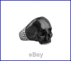 David Yurman Sterling Silver Forged Carbon Carved Skull Ring Sz 10 New Box 25r