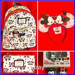 Disney Mickey And Minnie Mouse Love Hearts Backpack Ears Wallet Keychain Bundle