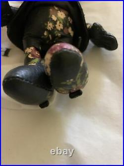 Disney X Coach Minnie Mouse Doll Bag Charm Key Ring Black Floral Nwt Msrp $175