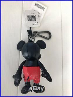 Disney x Coach 1941 Mickey Mouse Black Leather Keychain Fob Bag Charm 66511 NWT