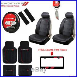 Dodge Elite Car Truck Front Seat Covers Floor Mats Wheel Cover Keychain + Gift