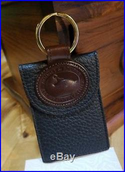 Dooney & Bourke Black and Burnt Cedar Trim Credit Card Case Key Chain Fob Ring