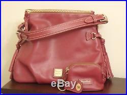 Dooney & Bourke Mulberry Leather Shoulder Bag Purse Teagan W Pouch Keychain