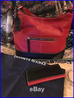 Dooney and bourke Red And Black Leather Hobo Sophie With Wallet & Keychain EUC