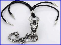Dragon 925 Sterling Silver Real Leather Men's Key Chain Wallet Belt Holder Rock