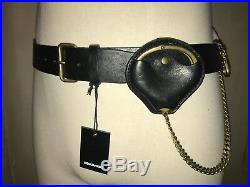 Dsquared² Runway Brown Leather Belt Aged Gold Brass Handcuff Key Chain Cuff 105