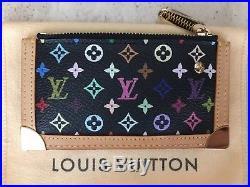EUC Auth Louis Vuitton Monogram Multicolor Key Cles Coin Case Black Murakami