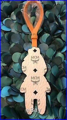 Eddie Kang X MCM Pet Leather Bag Charm Key Cnarm Chain NWOT White/Black