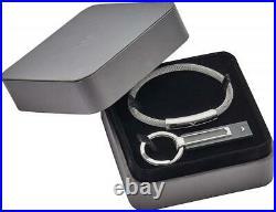 Emporio Armani Mens Bracelet + Keychain EGS2613040 Stainless Steel Leather Black