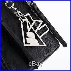 Exclusive Karl Lagerfeld x Falabella Backpack Double Zipper Black Keychain KL