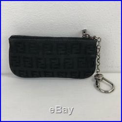 FENDI Black Zucchino FF Key Chain Pouch Wallet Silver
