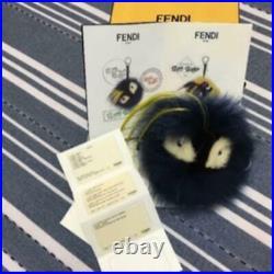 FENDI Fur Monster Bugs Bag Charm Keychain Black Genuine Chic Accessories Fashion