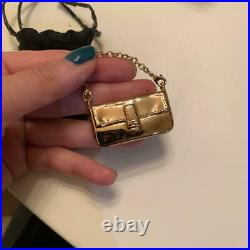 FENDI Key ring Key holder chain Bag charm AUTH Logo Gold bag Kawaii Gift F/S