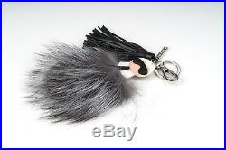 FENDI Keychain Karlito Fur pompom Bag charm Keyring Black leather Gray silver